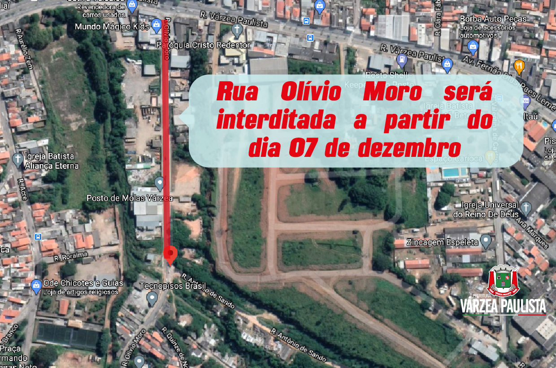 Rua Olívio Moro será interditada a partir da próxima segunda (7)