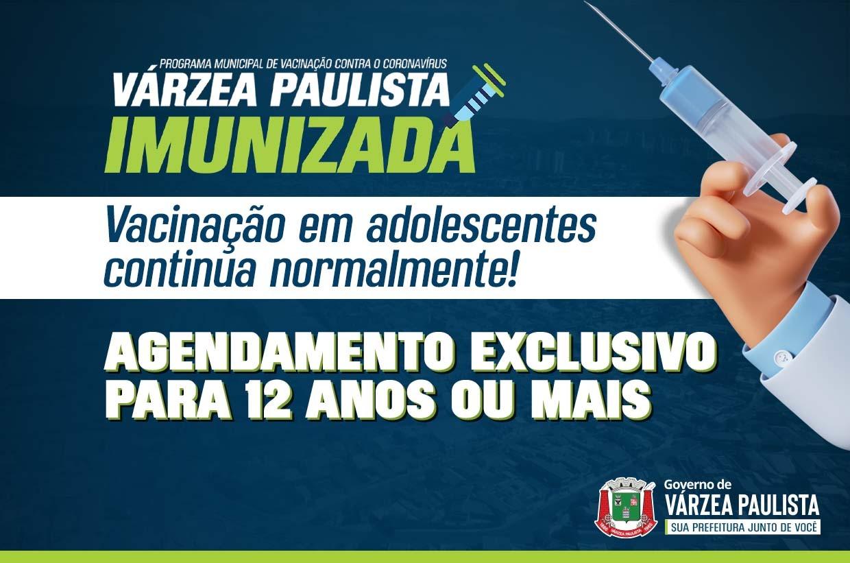 Vacinação de adolescentes de 12 a 17 anos contra Covid-19 segue em Várzea Paulista