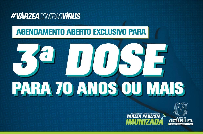 Agendamento da terceira dose da vacina contra Covid-19 para público 70+ e imunossuprimidos 18+ está aberto