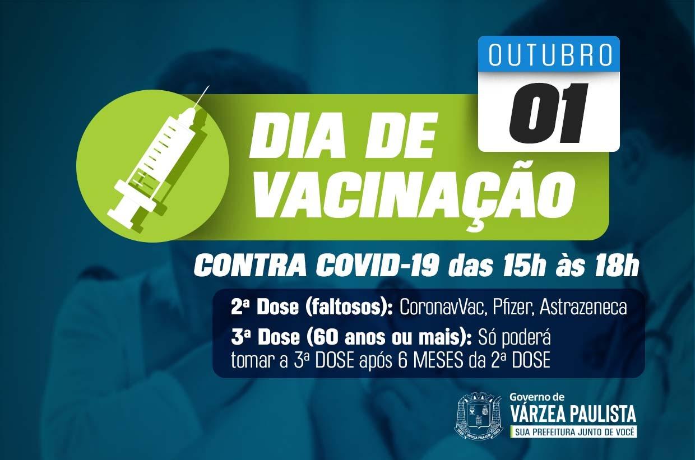 Dia V terá segundas doses para faltosos e terceiras doses para idosos 60+ e imunossuprimidos 18+, nesta sexta (1º)