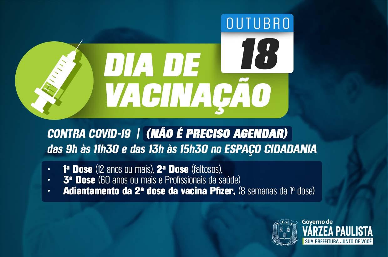 Vacinação contra Covid-19 sem agendamento nesta segunda-feira (18)