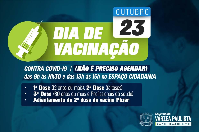 Vacinação contra Covid-19 sem agendamento neste sábado (23)